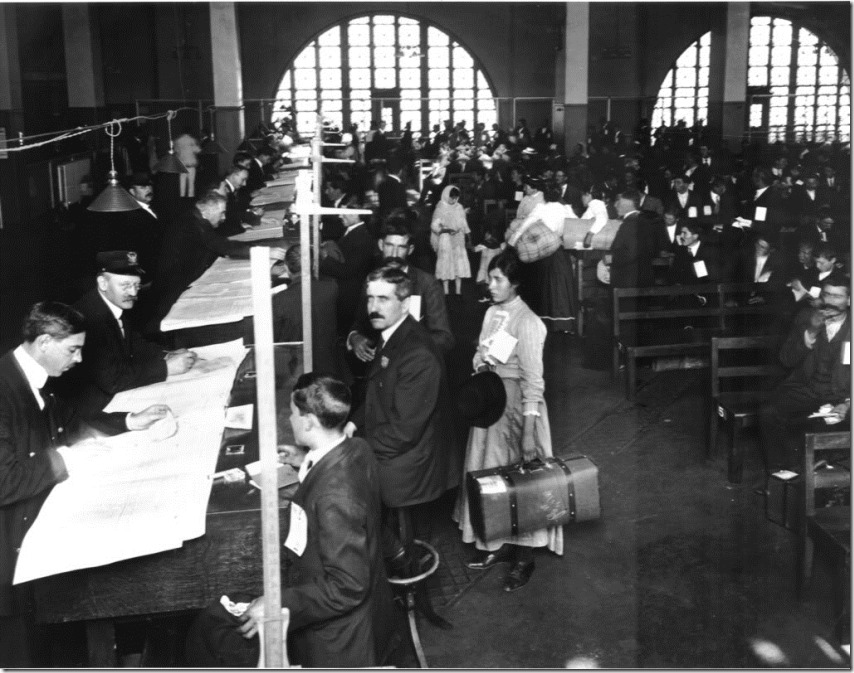 Immigrants being processed at Ellis Island