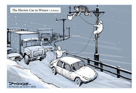 Electric Cars, Leaf, Volt, political cartoon